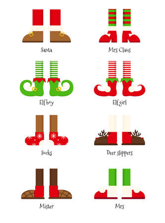 Christmas legs set. Merry Christmas background or banner with set of elf legs. Elven shoes and striped stockings icons. Cute anta helpers elves feet, boots. Vector illustration