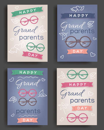 Happy grandparents day in cartoon style, greeting cards. Soulful family concept. Greeting cards for celebrate happy grandparents day. Happy family, grandfather and grandmother. Vector illustration