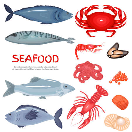 Seafood and seafood delicacies background set. Fish products, flat icons big set. Vector set of icons of mussels, shrimp, squid, octopus, lobster, crabs, oysters, tuna, caviar. Vector illustration