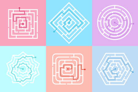Maze game labyrinth. Labyrinth shape design element. Labyrinth games of different shapes and complexity. One sure way, find your way to the center. Vector illustration Ilustración de vector
