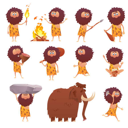 Cartoon primitive people, primitive caveman human civilization character. Icons of stone age. Cavemen hunting, , stone tools isolated on white background. Vector illustration