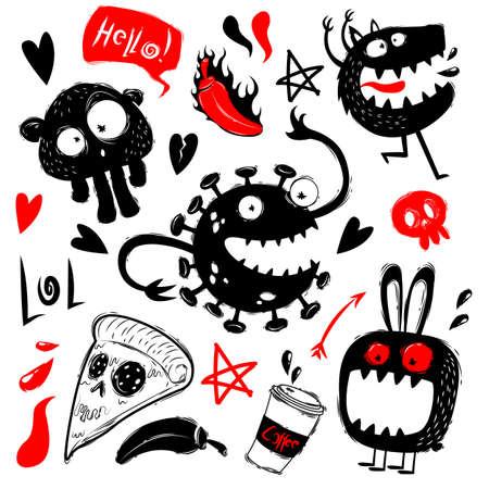 Funny doodles with monsters set. Doodle cute monsters on white background. Monsters and ghosts characters doodles, hand draw style.Collection of monsters silhouettes. Vectro illustration Иллюстрация