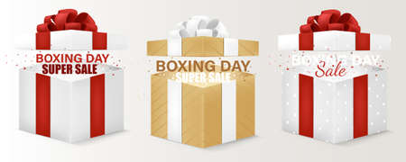 Three Box Sale for Xmas and Happy New Year. Royalty free stock illustration for greeting card, promotion, poster and banner. Happy Boxing Day sale banner. Vector illustration 矢量图像