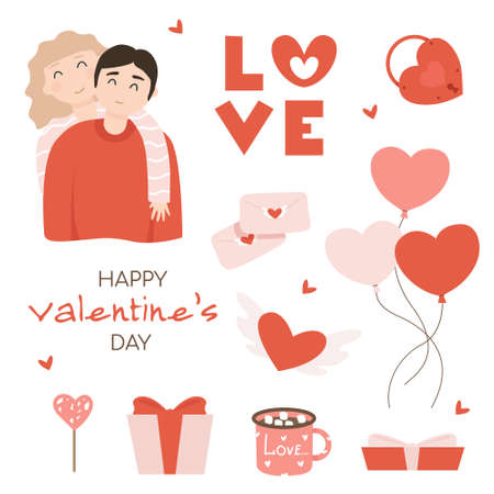 Happy valentine's day, cartoon couples of lovers in various poses and actions. Couple in love. Characters for Valentine's Day. Relationship, love concept. Vector illustration Illusztráció