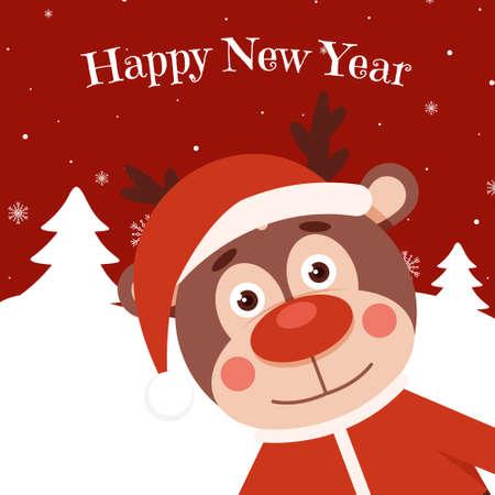 Funny deer on christmas banner. Animal holiday cartoon character. Deer in a Christmas costume. Christmas character funny deer. Vector illustration