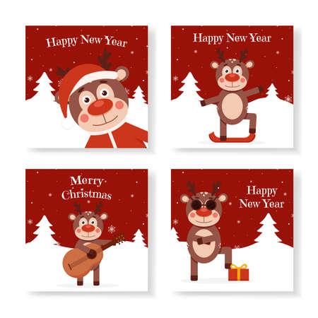 Christmas deer on greeting christmas cards set. Animal holiday cartoon character. Deer in a Christmas costume. Christmas character funny deer. Vector illustration Ilustração