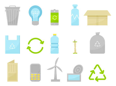 Recycling icons set with waste types collection flat. Types of garbage, colorful image icons. Icons for waste recycling labels, publications, infographics. Vector illustration