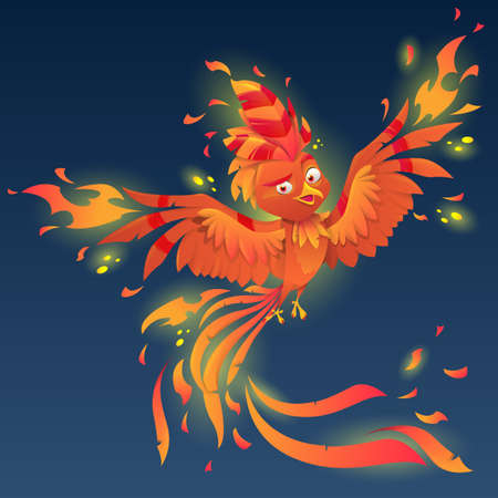 Phoenix with majestic tail and burning plumage. Burning fiery bird isolated  mascot logo design. Fairytale animal, symbol of immortality and reborn from ashes. Vector illustration