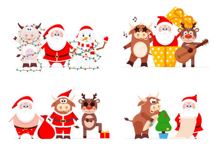 Merry Christmas and Happy New Year 2021, Santa Claus celebrates the New Year with a bik, a deer and a snowman. The year of the bull is the symbol of Chinese New Year 2021. Vector illustration.