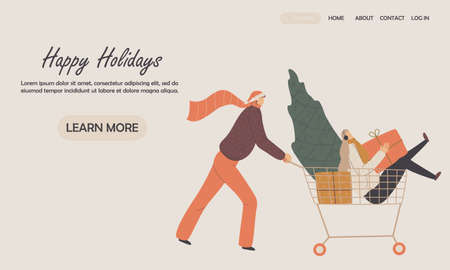 Happy couple travels with a shopping cart. Design for landing web page, ui, mobile app, banner template. Vector illustration