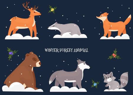 New Year and Christmas 2021 with forest animals. A nobor of six forest animals placed around the inscription on a dark blue background bear, fox, wolf, deer, raccoon, hedgehog. Vector illustration 일러스트