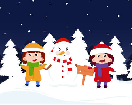 Happy Christmas with kids and snigovik. Cheerful children blinded the snigovik and put a scarf and a hat on him. Children with snigovik meet New Year 2021. Vector illustration