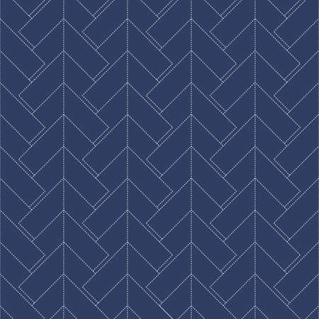 Collection of Japanese sashiko. Decorative seamless wallpaper harmoniously combines two styles of retro and modern in blue. Vector illustration