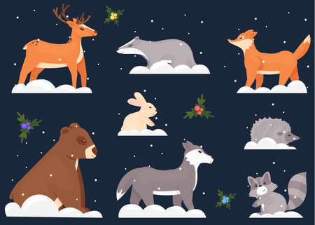 Christmas 2021 with forest friends. Eight funny animals: bear, fox, wolf, deer, hare, raccoon, hedgehog, badger. A set of cute animals arranged on a dark blue background. Vector illustration. 矢量图像