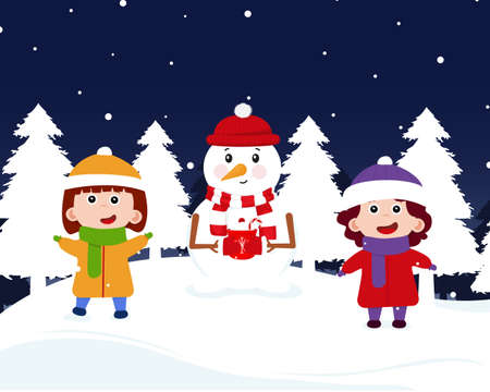 Children with snigovik celebrate New Year 2021. Merry Christmas together with children and snigovik. Cheerful children blinded the snigovik and put a scarf and a hat on him. Vector illustration