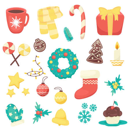Collection of Christmas items such as Christmas decorations, cookies, pine branches, scarf and mittens, bright colors. Elements for New Year and Christmas 2021. Vector illustration.