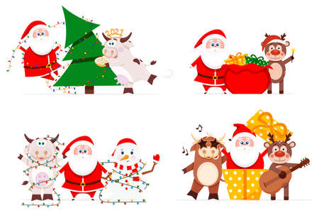 Santa claus with cute animals have fun for christmas Illustration with a cow and a bull, decorating a Christmas tree with a reindeer and a snigovik Bull symbol of the Chinese new year Vector illustration.