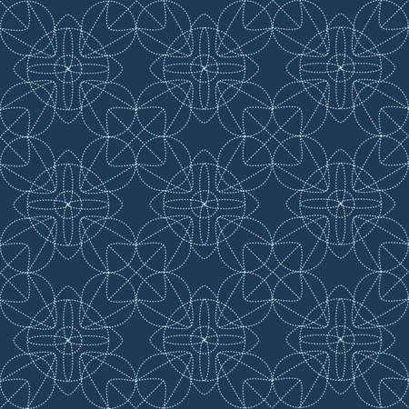 Japanese sashiko. Decorative wallpapers harmoniously combine two styles of retro and modern in blue, seamless pattern. Vector illustration  イラスト・ベクター素材