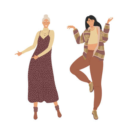 Two women friends. Girlfriends have fun dancing and singing songs. The illustration is shown on a white background. Vector illustration