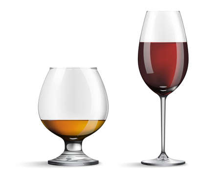 Wine glass and whiskey isolated on white background. Realistic glasses with wine and whiskey inside. Vector illustration.