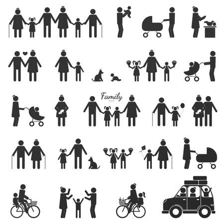 Large set of black figures of people isolated on a white background. Includes Icons Such As Motherhood, Fatherhood, Grandparents, Relatives, Children, Newborn. Vector illustration Иллюстрация