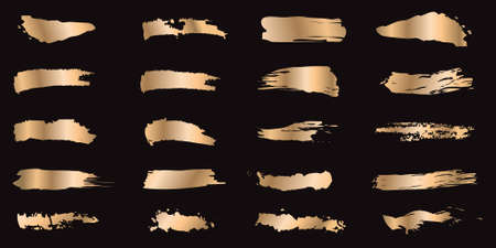 Set of gold ink strokes isolated on black background. Collection of grunge metal paint texture for design. Abstract gold glittering textured illustration. Vector illustration