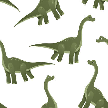 Seamless dinosaur patterns are depicted on a white background. Colorful dinosaurs cartoon character illustration. Cute cartoon Jurassic dinosaur. Vector illustration