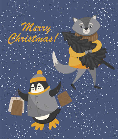 Christmas card with owl and raccoon. Cute animals with packages and christmas tree on blue background. Merry Christmas and Happy New Year 2021. Vector illustration.