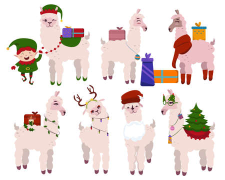 Christmas llama set, wears a elf hat and has many gift boxes behind him. Animal holiday cartoon character. Alpaca character - lot of gift box with christmas theme. Vector illustration Иллюстрация
