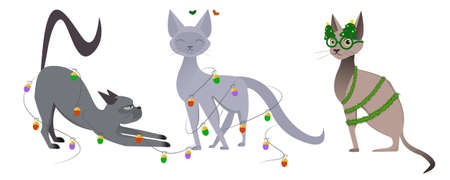 Draw a feline character for New Year and Christmas. Christmas cats entangled in garlands. Vector illustration