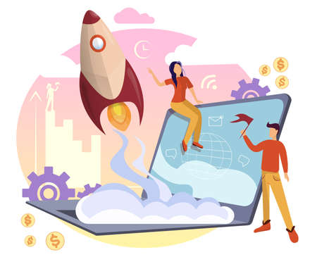Successful startup concept with people working. Businessman launching a huge light bulb, rocket, launching a business project, web template. Vector illustration