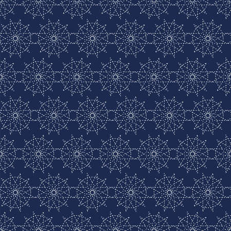 Japanese seamless sashiko. Decorative wallpapers harmoniously combine two styles of retro and modern in blue. Vector illustration
