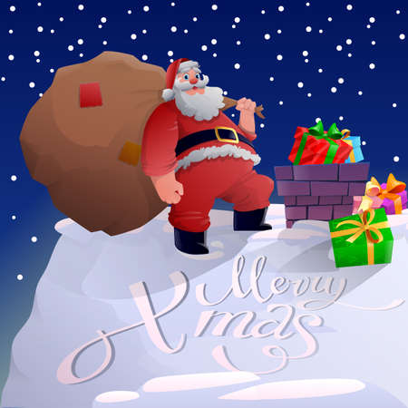 Santa on the roof. Cartoon Santa Claus standing on the rooftop with a big bag. Merry Christmas and Happy New Year concept. Santa Claus carries a bag with gifts. Vector illustration