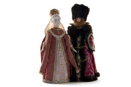 boyar: costume doll - Boyar and noblewoman on a white background