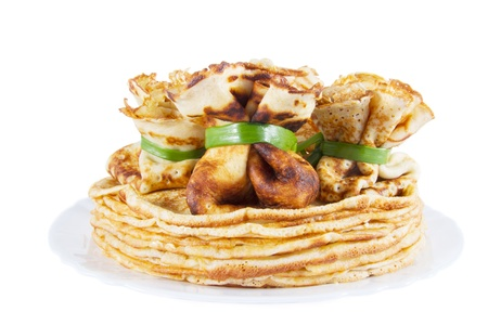 sac: pancake in the form of sac on a pile of pancakes