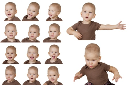 Set of fourteen images of the child on a white background photo