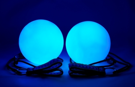 poi: equipment for juggling - blue luminous poi balls