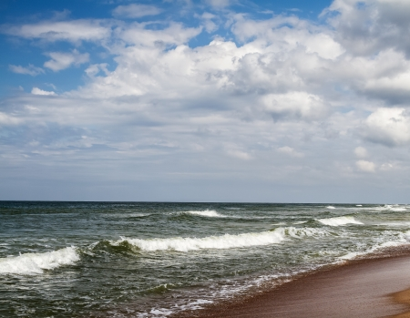 waves in the Baltic Sea summer cloud by day, Lithuania photo