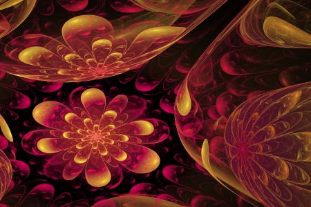 outumn: Fractal - flower with reflections on black background Stock Photo