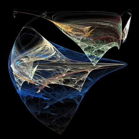 outumn: Fractal - multicolored abstraction in the form of stingray on black background