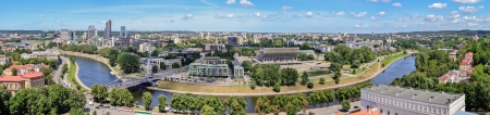 vilnius: panorama - view of the city of Vilnius and Neris River from the tower of Gediminas, Lithuania