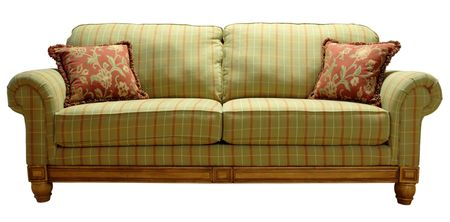 davenport: Green Country Plaid Sofa with Pine Accent Trim