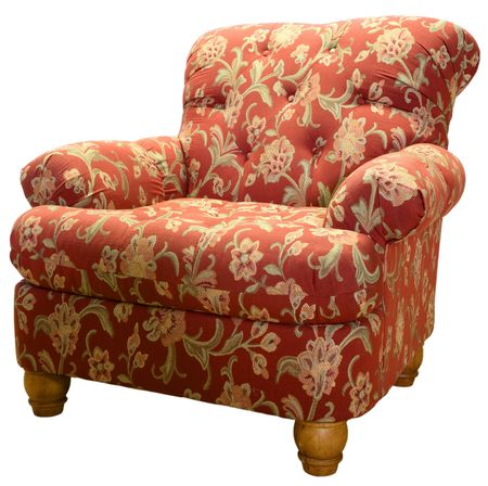 Country Style Club Chair  in a Red Paisley Fabric Pattern