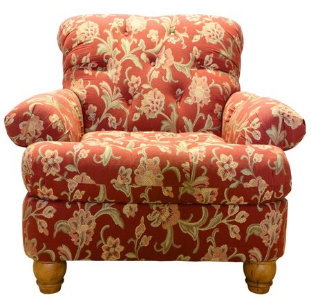 den: Country Style Club Chair  in a Red Paisley Fabric Pattern