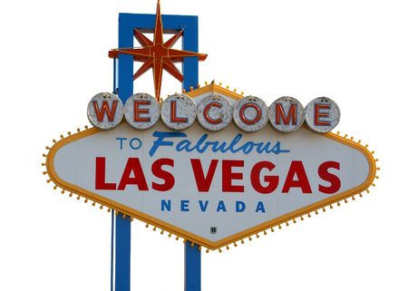 Las Vegas Strip Sign with White Background Stock Photo