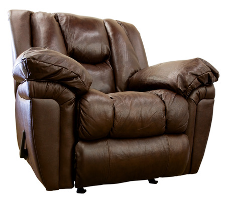 Large Comfortable Overstuffed  Brown Leather Rocker Recliner