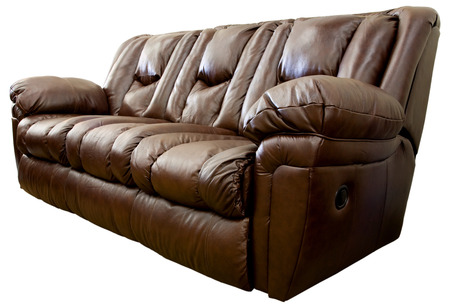 comfortable: Large Comfortable Overstuffed Brown Leather Reclining Sofa
