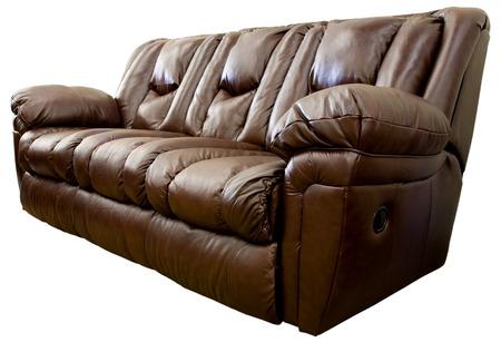 Spacieuses et confortables Overstuffed Canapé inclinable en cuir brun Banque d'images - 1498641