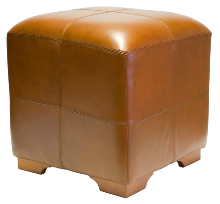 hassock: Leather Cube Ottoman