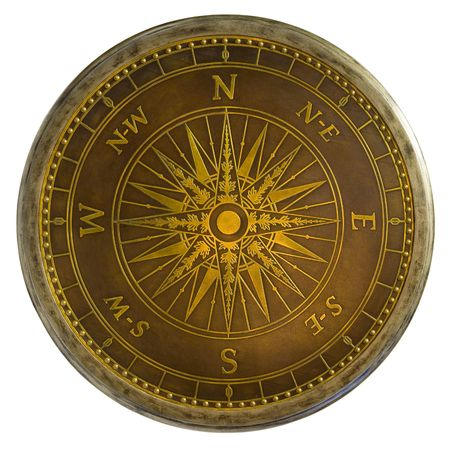 Round Antique Brass Nautical Compass Table Top